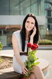 Happiness - woman with roses Stock Photography
