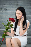Happiness - woman with roses Royalty Free Stock Photo