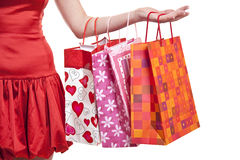 Happiness - Woman's hand with shopping bags Royalty Free Stock Photo