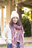 Happiness woman with scarf and hat save phone in pockets. stock photo