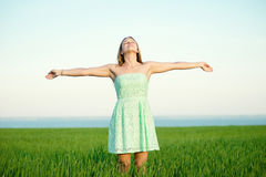 Happiness woman stay outdoor under sunlight of Royalty Free Stock Images