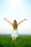 Happiness woman stay outdoor under sunlight of Royalty Free Stock Photo