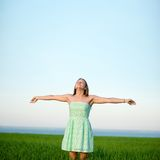 Happiness woman stay outdoor under sunlight of Stock Photo