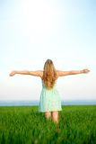 Happiness woman stay outdoor under sunlight of Royalty Free Stock Photos