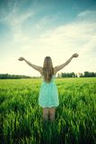 Happiness woman stay outdoor under sunlight of Stock Photos