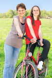 Happiness woman and teenager girl outdoor Stock Photos