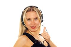 Happiness women listening music Stock Photos