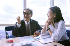 Happiness working people in meeting room for successful and good Royalty Free Stock Photo