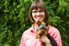 Happiness yarn woman with york terrier Royalty Free Stock Photos