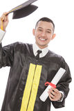 Happiness of young graduated student. Close up portrait of happiness of young graduated student isolated on white background Royalty Free Stock Photos