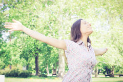 Happiness young woman enjoyment in the nature Royalty Free Stock Photos