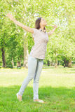 Happiness young woman enjoyment in the nature Stock Photography