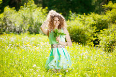 Happiness young woman in field of flowers Stock Photos
