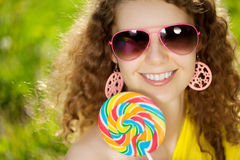 Happiness young woman at a picnic in the park Royalty Free Stock Image