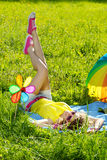 Happiness young woman at a picnic in the park Stock Photos