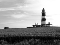 Happisburgh Lighthouse. Black and white scenic view of Happisburgh Lighthouse with corn field in foreground, Norfolk, England Stock Photography