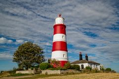 Happisburgh lighthouse situtated in Norfolk in beautiful autumnal sunshine stock photos