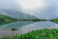 Happo-ike Pond at Happo-one in Hakuba, Nagano,. Shirouma mountains and Happo-ike Pond at Happo-one in Hakuba, Nagano,Japan Stock Photo