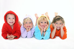 Happpy children in bathrobe Royalty Free Stock Images