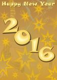 Happpy new year 2016 party billboard on grunge gold background with stars. Happy new year 2016 party billboard on grunge gold background with stars. Invitation royalty free illustration