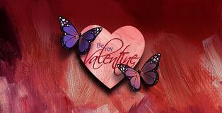 Happry Valentine`s Day Butterflies with Love Heart. Graphic composition of the sentiment Be My Valentine with two colorful Butterflies and Love Heart against Stock Photography