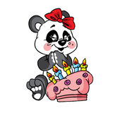 Happy panda birthday with cake Stock Images