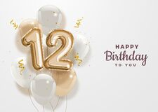 Free Happy 12th Birthday Gold Foil Balloon Greeting Background. Stock Image - 180271841