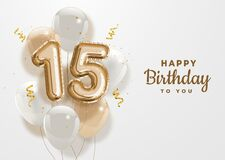 Free Happy 15th Birthday Gold Foil Balloon Greeting Background. Royalty Free Stock Photo - 180390095