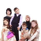 Happy. Two happy mothers with their four children Stock Photos