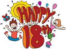 Happy 18th. Cartoon isolated on a white background vector illustration