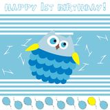 Happy 1st birthday!. 1st birthday blue greeting card royalty free illustration