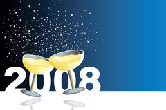 Happy 2008. Blue illustration with two glasses of champagne in a new year celebration Stock Photo