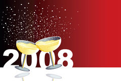 Happy 2008. Red illustration with two glasses of champagne in a new year celebration Stock Photography