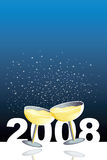 Happy 2008. Blue illustration with two glasses of champagne in a new year celebration Royalty Free Stock Photography