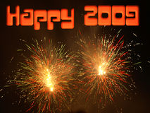 Happy 2009. Fireworks as a background for happy 2009 text Royalty Free Stock Photos