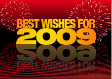 Happy 2009. Abstract vector illustration with fireworks wishing you the best for 2009 Stock Photos
