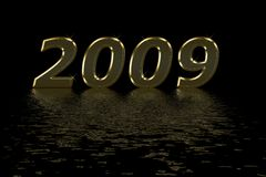 Happy 2009. Goldletters reflecting in water, to wish you a happy new year Stock Photo