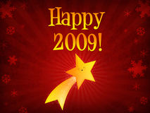 Happy 2009 shooting star. Smiling cartoon royalty free illustration