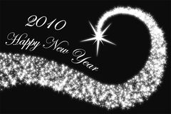Happy 2010 - black. Happy new year 2010 with stars in black background Stock Illustration