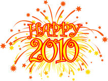 Happy_2010_fireworks. Graphic depicting the number 2010 and a fireworks burst display royalty free illustration