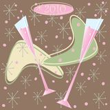Happy 2010 Retro Champagne Toast. On brown background Royalty Free Stock Photo