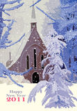Happy 2011. Illustration representing a church in the middle of a field and trees covered by the snow. The text Happy New Year 2011 has a space under it in where Stock Images