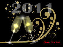 Happy 2011. Two glasses of champagne, on the foreground of a golden decoration which reminds the snow. The text 2011 and Happy new year complete the image vector illustration