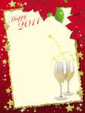 Happy 2011 card. 2011 New Year background with blank card and glasses Stock Image