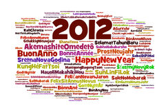 Happy 2012. The phrase Happy New Year in different languages with the more widely spoken in bigger fonts and the year 2012 within the text, in white background vector illustration
