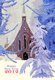Happy 2012. Illustration representing a church in the middle of a field and trees covered by the snow. The text Happy New Year 2012 has a space under it in where Stock Images