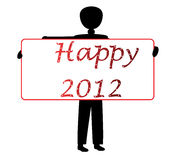 Happy 2012. Sign holding by a man vector illustration