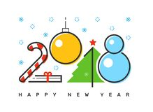 Free Happy 2018 New Year Flat Thin Line Horizontal Colorful Greeting Card Design. Royalty Free Stock Photo - 101781015
