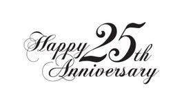 Happy 25th anniversary. Wedding logotype Stock Image
