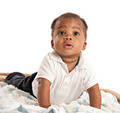 Happy 3 Month Old African American Baby Crawling Stock Photo